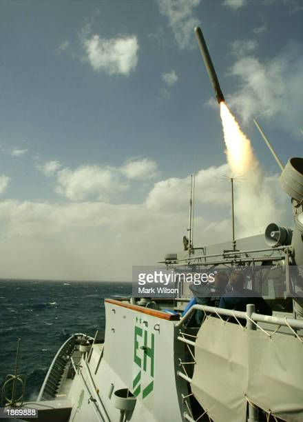Tomahawk cruise missile flies toward Iraq after being launched from the AEGIS guided missile cruiser USS San Jacinto March 25 2003 in the Red Sea