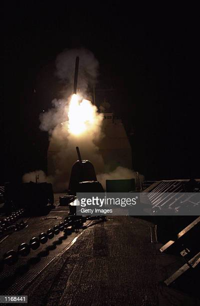 Tomahawk cruise missile is launched October 7 2001 from the USS Philippine Sea against military targets and terrorist training camps inside...