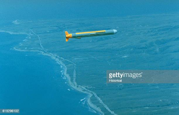 A Tomahawk submarinelaunched cruise cruise missile en route to its target on the Tonapah Test Range in Nevada April 16 1983
