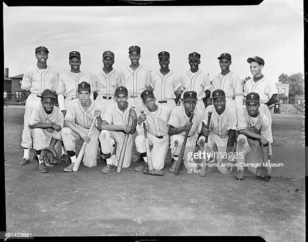 Tomahawks Athletic Club baseball team posed on Schenley Field Pittsburgh Pennsylvania circa 19491950 Back row Ben Carter Leander Wright Dwain Hampton...
