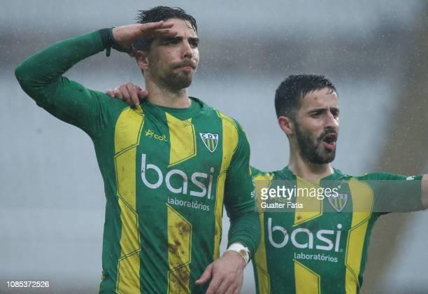 Tomane of CD Tondela celebrates after scoring a goal during the Liga NOS match between Belenenses SAD and CD Tondela at Estadio Nacional on January...