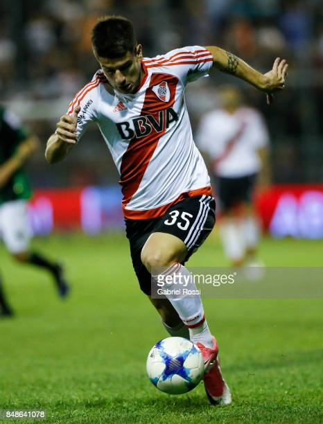 Tomas Andrade of River Plate drives the ball during a match between San Martin de San Juan and River Plate as part of the Superliga 2017/18 at...