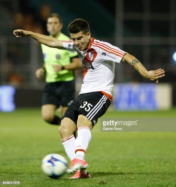 Tomas Andrade of River Plate kicks the ball during a match between San Martin de San Juan and River Plate as part of the Superliga 2017/18 at...