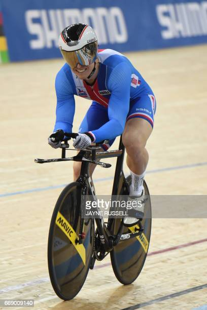 CORRECTION Tomas Babek of the Czech Republic reacts after the men's 1km time trial final at the Hong Kong Velodrome during the Track Cycling World...