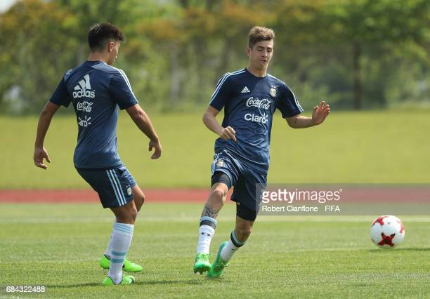 Tomas Belmonte of Argentina looks to get the ball during an Argentina training session at the Jeonju World Cup Stadium Auxiliary Field ahead of the...