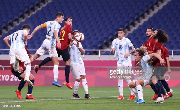 Tomas Belmonte of Team Argentina scores their side's first goal during the Men's First Round Group C match between Spain and Argentina on day five of...