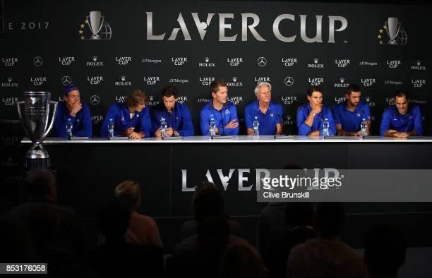 Tomas Berdych Alexander Zverev Dominic Thiem Thomas Enqvist Bjorn Borg Rafael Nadal Marin Cilic and Roger Federer of Team Europe attend a press...