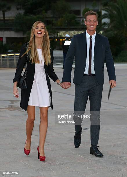 Tomas Berdych and girlfriend Ester Satorova arrive during the ATP Monte Carlo Rolex Masters Launch Party at the Grimaldi Forum on April 12 2014 in...
