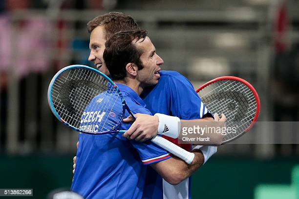 Tomas Berdych and Radek Stepanek of Czech Republic celebrate after match point against Philipp Petzschner and Philipp Kohlschreiber of Germany in...