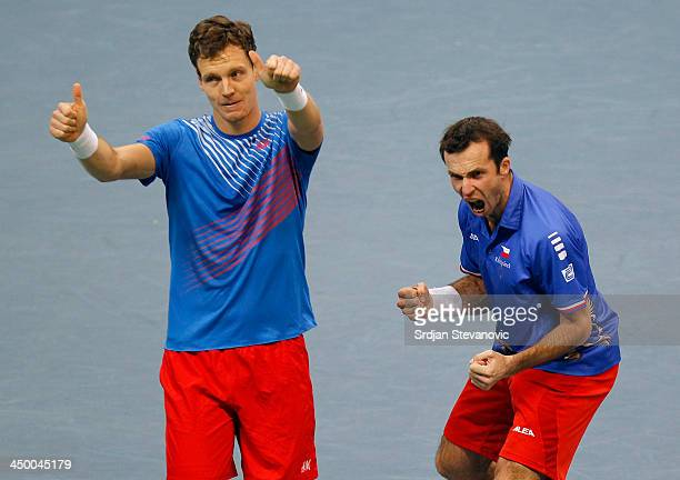 Tomas Berdych and Radek Stepanek of Czech Republic celebrate victory in their men's doubles match on day two of the Davis Cup World Group Final...