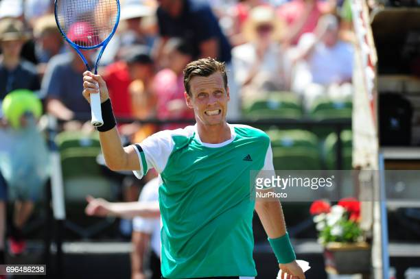 Tomas Berdych cheers after winning against Bernard Tomic in a match of the round of eight at the Mercedes Cup in Stuttgart Germany on June 15 2017