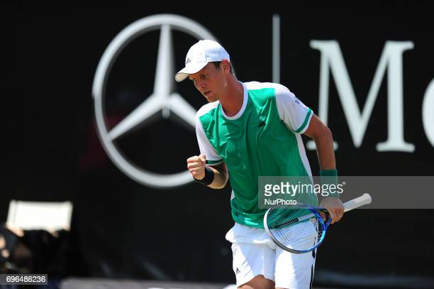 Tomas Berdych cheers during a match against Bernard Tomic in the round of eight of the Mercedes Cup in Stuttgart Germany on June 15 2017