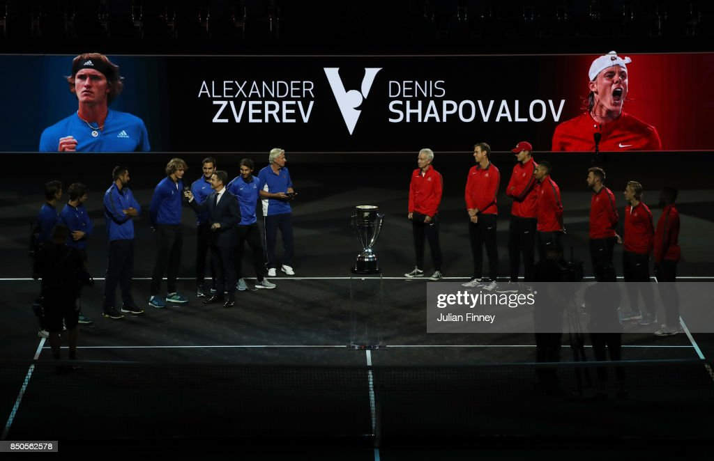 Tomas Berdych, Dominic Thiem, Marin Cilic, Alexander Zverev, Roger Federer, Rafael Nadal and Bjorn Borg of Team Europe Line up and (L-R) John Mcenroe, Sam Querrey, John Isner, Nick Kyrgios, Jack Sock, Denis Shapovalov and Frances Tiafoe of Team World line up during previews ahead of the Laver Cup on September 21, 2017 in Prague, Czech Republic. The Laver Cup consists of six European players competing against their counterparts from the rest of the World. Europe will be captained by Bjorn Borg and John McEnroe will captain the Rest of the World team. The event runs from 22-24 September.