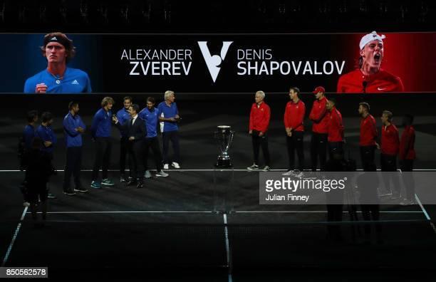 Tomas Berdych Dominic Thiem Marin Cilic Alexander Zverev Roger Federer Rafael Nadal and Bjorn Borg of Team Europe Line up and John Mcenroe Sam...