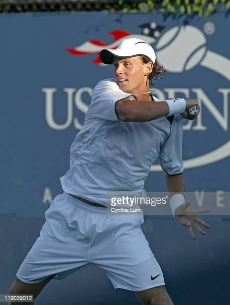 Tomas Berdych during his second round match against Ricardo Mello in the second round of the 2005 US Open at the USTA National Tennis Center in...