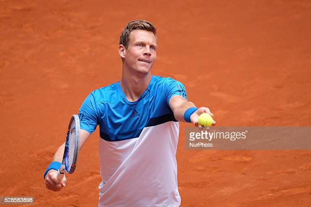 Tomas Berdych in action against David Ferrer in their third round match during day six of the Mutua Madrid Open tennis tournament at the Caja Magica...