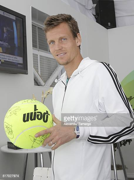 Tomas Berdych is seen during the Miami Open Media Day at Crandon Park Tennis Center on March 22, 2016 in Key Biscayne, Florida.