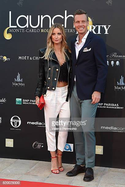 Tomas Berdych of Czech Republic and girl friend Ester Satorova attend the Launch Party at ZeloÕs Monaco during preview day of the ATP Monte Carlo...