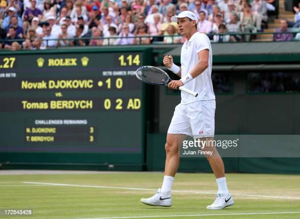 Tomas Berdych of Czech Republic celebrates a point during the Gentlemen's Singles quarterfinal match against Novak Djokovic of Serbia on day nine of...