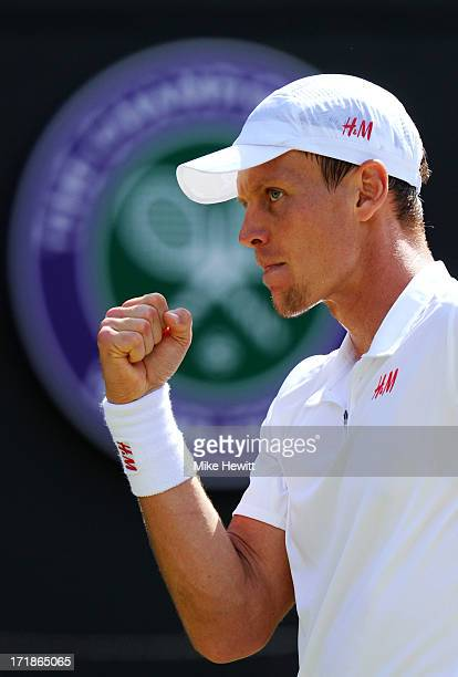 Tomas Berdych of Czech Republic celebrates a point during the Gentlemen's Singles third round match against Kevin Anderson of South Africa on day six...