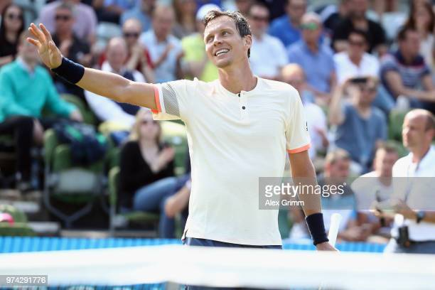 Tomas Berdych of Czech Republic celebrates after winning his match against Benoit Paire of France during day 4 of the Mercedes Cup at Tennisclub...