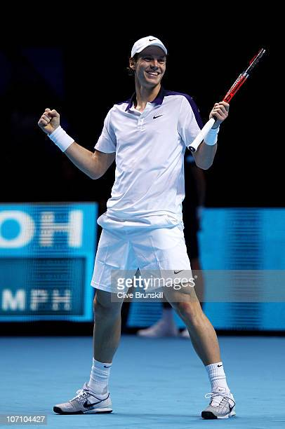 Tomas Berdych of Czech Republic celebrates after winning his men's singles match against Andy Roddick of the USA during ATP World Tour Finals at O2...