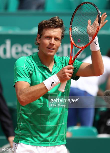 Tomas Berdych of Czech Republic celebrates defeating Feliciano Lopez of Spain during day one of the ATP Masters Series at the Monte Carlo Country...