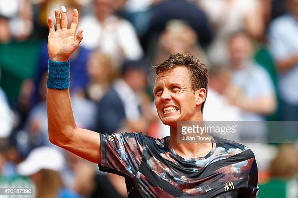 Tomas Berdych of Czech Republic celebrates defeating Gael Monfils of France in the semi finals during day seven of the Monte Carlo Rolex Masters...