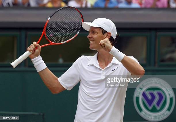 Tomas Berdych of Czech Republic celebrates match point during the Men�s Semi Final match against Novak Djokovic of Serbia on Day Eleven of the...