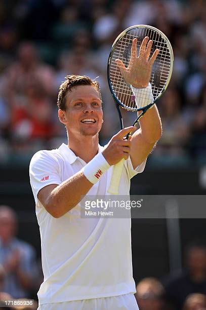 Tomas Berdych of Czech Republic celebrates match point during the Gentlemen's Singles third round match against Kevin Anderson of South Africa on day...