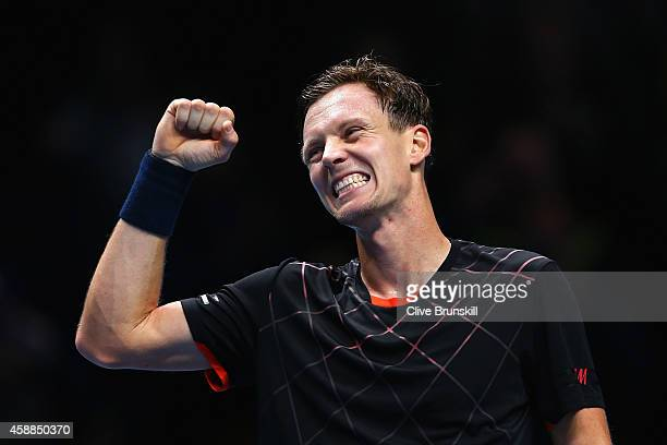 Tomas Berdych of Czech Republic celebrates match point in the round robin singles match against Marin Cilic of Croatia on day four of the Barclays...