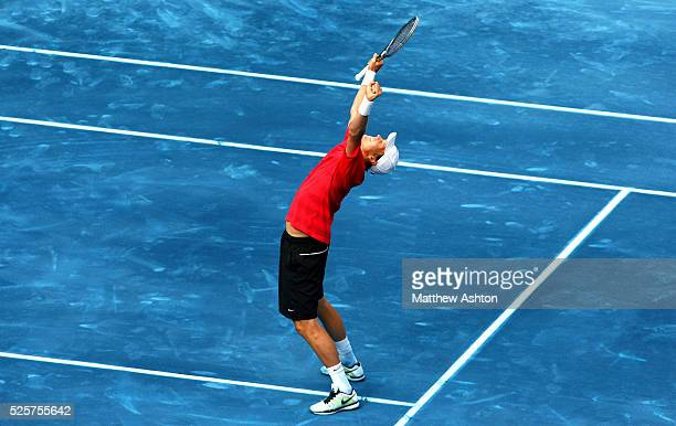 Tomas Berdych of Czech Republic celebrates on the blue courts of Madrid