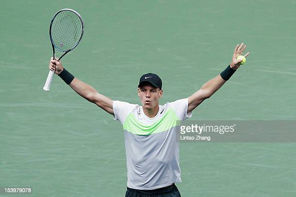 Tomas Berdych of Czech Republic celebrates winning against JoWilfried Tsonga of France during the Men's Single Quarterfinals of the Shanghai Rolex...