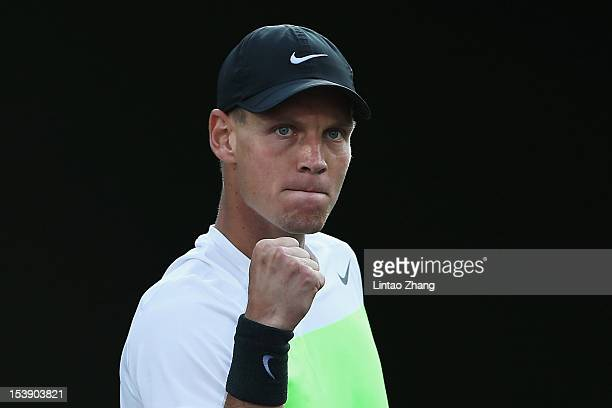 Tomas Berdych of Czech Republic celebrates winning against Sam Querrey of the United States during the day five of Shanghai Rolex Masters at the Qi...