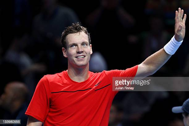 Tomas Berdych of Czech Republic celebrates winning the men's singles match against Janko Tipsarevic of Serbia during the Barclays ATP World Tour...