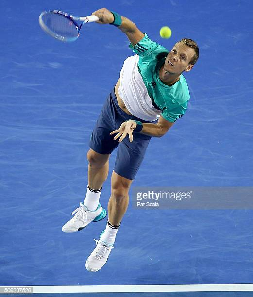 Tomas Berdych of Czech Republic during his third round match against Nick Kyrgios of Australia on day five of the 2016 Australian Open at Melbourne...