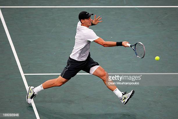 Tomas Berdych of Czech Republic in action against Kevin Anderson of South Africa during day 4 of the BNP Paribas Masters at Palais Omnisports de...