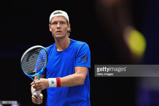 Tomas Berdych of Czech Republic in action during a training session ahead of the Laver Cup on September 20 2017 in Prague Czech Republic The Laver...