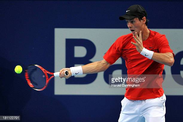 Tomas Berdych of Czech Republic in action during his match against Kei Nishikori of Japan during day two of the Swiss Indoors at St Jakobshalle on...
