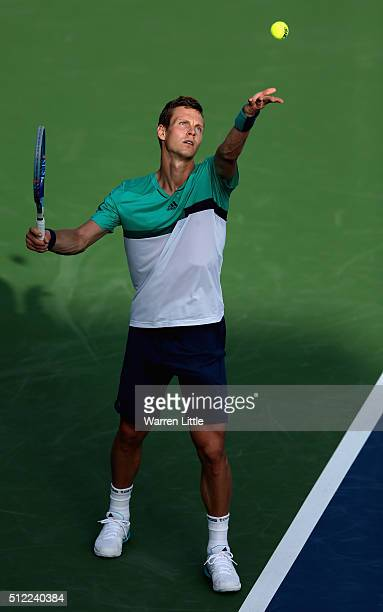 Tomas Berdych of Czech Republic in action during his quarter final match against Nick Kyrgios of Australia on day six of the ATP Dubai Duty Free...
