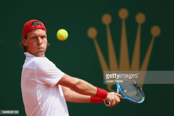 Tomas Berdych of Czech Republic in action in his singles match against Kei Nishikori of Japan during day two of ATP Masters Series Monte Carlo Rolex...