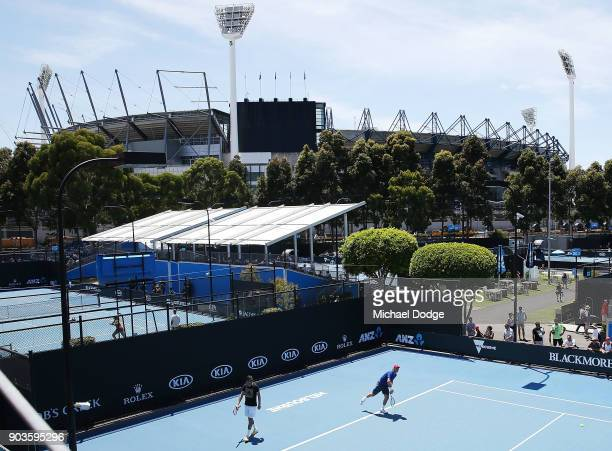 Tomas Berdych of Czech Republic in front of the Melbourne Cricket Ground during a practice session ahead of the 2018 Australian Open at Melbourne...