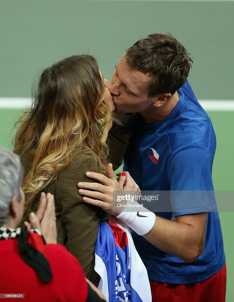 Tomas Berdych of Czech Republic kisses his girlfriend Ester Satorova after his five set win against Nicolas Almagro of Spain during day one of the final Davis Cup match between Czech Republic and Spain at the 02 Arena on November 16, 2012 in Prague, Czech Republic.