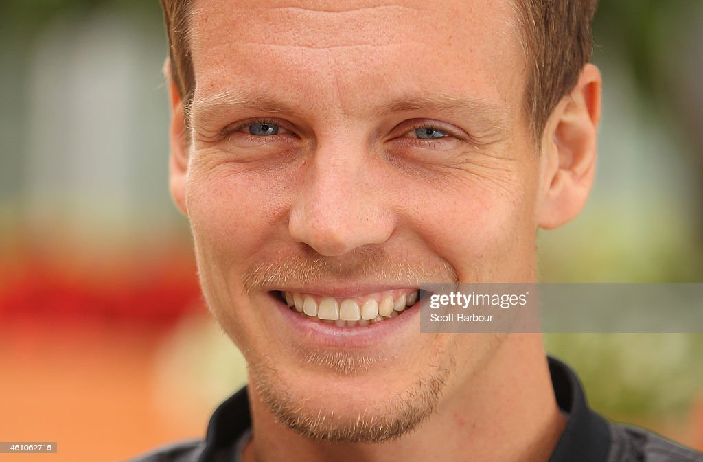 Tomas Berdych of Czech Republic looks on during a press conference ahead of the AAMI Classic at Kooyong on January 7, 2014 in Melbourne, Australia.