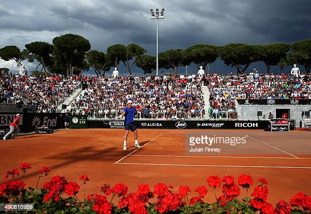 Tomas Berdych of Czech Republic plays a forehand in his match against Grigor Dimitrov of Bulgaria during day five of the Internazionali BNL d'Italia...