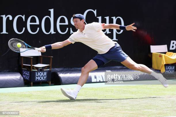 Tomas Berdych of Czech Republic plays a forehand to Benoit Paire of France during day 4 of the Mercedes Cup at Tennisclub Weissenhof on June 14 2018...