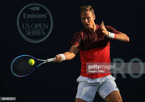 Tomas Berdych of Czech Republic plays a shot against Novak Djokovic of Serbia during Day 5 of the Rogers Cup at the Aviva Centre on July 29 2016 in...