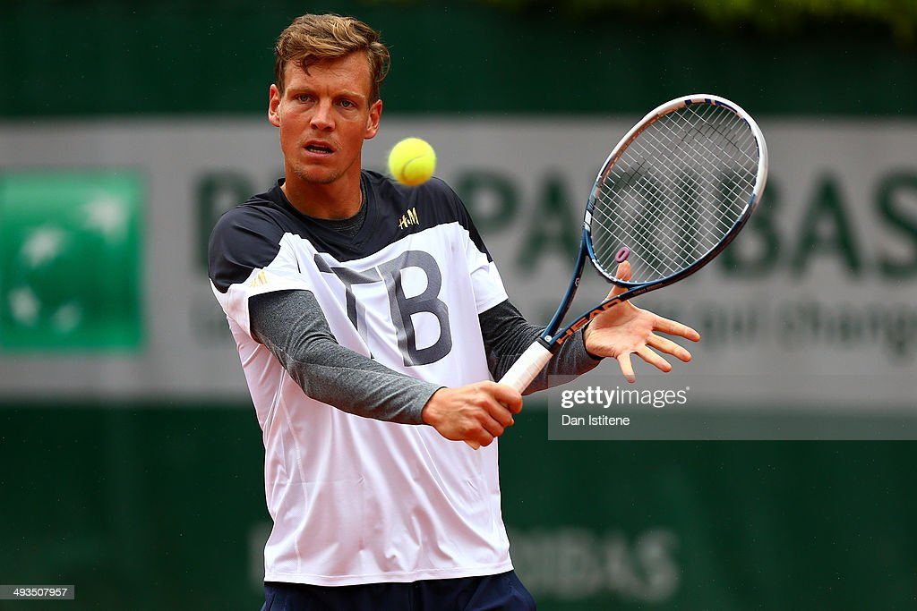 Tomas Berdych of Czech Republic plays a shot during a practice session ahead of the French Open at Roland Garros on May 24, 2014 in Paris, France.