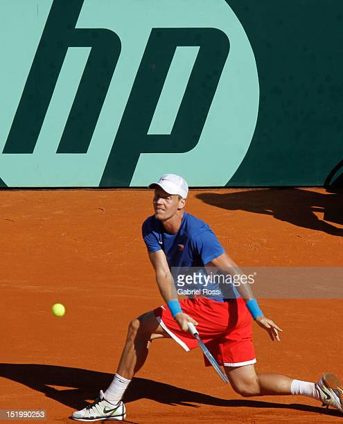 Tomas Berdych of Czech Republic plays a shot during the second Davis Cup semi-final match between Argentina and Czech Republic at Mary Ter‡n de Weiss...