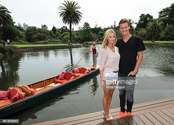 Tomas Berdych of Czech Republic poses with his fiancee Ester Satorova at Melbourne Botanical Gardens during the 2015 Australian Open on January 20...